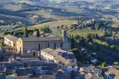 San Gimignano, Сиена, Тоскана, Италия, взгляд от большой башни Стоковое Изображение RF