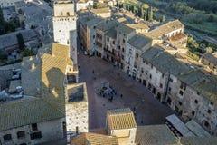 San Gimignano, Сиена, Тоскана, Италия, взгляд от большой башни Стоковые Изображения