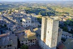 San Gimignano, Сиена, Тоскана, Италия, взгляд от большой башни Стоковое Фото