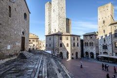 San Gimignano, Сиена, Тоскана, Италия, Европа, квадрат собора Стоковая Фотография RF