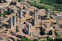 San Gimignano. Aerial view of San Gimignano town in Tuscany Italy stock image