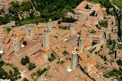 San Gimignano. Aerial view of San Gimignano town in Tuscany Italy Stock Photo