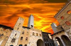San Gimignano bei Sonnenuntergang - Italien lizenzfreies stockfoto