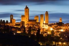 San Gimignano bij nacht Royalty-vrije Stock Foto