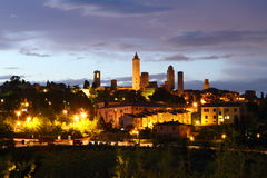 San Gimignano castle in Tuscany at night Stock Photography