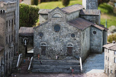 San Gimignano cathedral. Miniature model of the San Gimignano Cathedral in mini Italy Park. April 20, 2012,Rimini (Italy). This reconstruction in miniature royalty free stock photo