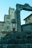 San Gimignano, medieval city with well and towers stock photos