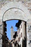 San Gimignano door. View from outside the door of San Gimignano, Siena, Italy Royalty Free Stock Photography