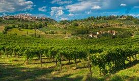 San Gimignano en av de mest trevliga byarna av Italien Arkivbilder