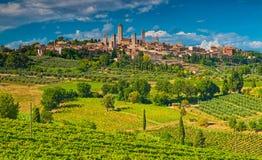 San Gimignano en av de mest trevliga byarna av Italien Royaltyfria Foton