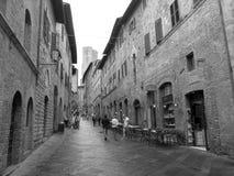 San Gimignano gata Fotografering för Bildbyråer