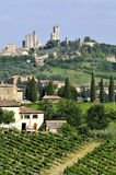 San Gimignano. The general view of san gimignano with the towers, Tuscany, Italy stock photos