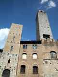 San Gimignano, Italy. Medieval towers against blue sky in fortified town of San Gimignano, Tuscany, Italy Royalty Free Stock Image