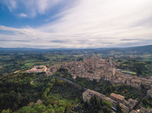 San Gimignano, Italy, aerial view. San Gimignano castel, Italy, aerial view royalty free stock photo