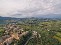 San Gimignano, Italy, aerial view. San Gimignano castel, Italy, aerial view royalty free stock image