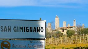 The towers of San Gimignano at sunset Tuscany Italy royalty free stock images