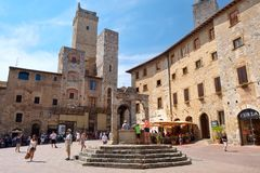 The medieval town of San Gimignano in Tuscany, Italy stock photos