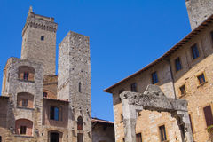 San Gimignano, Italy. Medieval buildings and tower at San Gimignano, Tuscany, Italy Stock Images