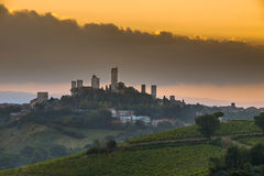 San Gimignano, Italy. Towers of World Heritage Site Village San Gimignano on the top of a Hill during Sunrise, Italy royalty free stock photography