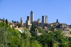 San Gimignano jest małym średniowiecznym wzgórza miasteczkiem w Tuscany Obrazy Royalty Free