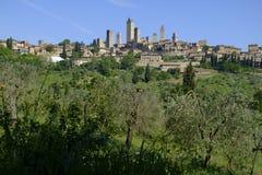 San Gimignano jest małym średniowiecznym wzgórza miasteczkiem w Tuscany Zdjęcie Stock