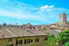 San Gimignano krajobraz na jasnym letnim dniu Obraz Stock