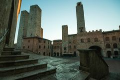 San Gimignano, medieval city with well and towers stock images