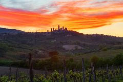 San Gimignano medieval town at sunset. In Tuscany, Italy, Europe Royalty Free Stock Images