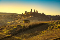 San Gimignano medieval town towers skyline and landscape. Tuscan Stock Images