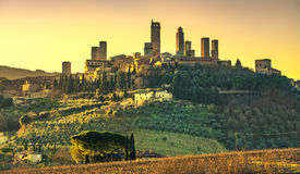 San Gimignano medieval town towers skyline and landscape. Tuscan Royalty Free Stock Photo