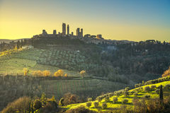 San Gimignano medieval town towers skyline and landscape. Tuscan Royalty Free Stock Photos
