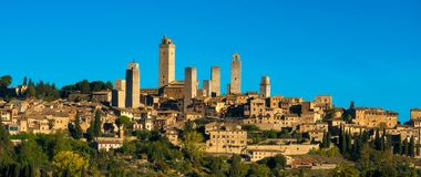 San Gimignano medieval town towers skyline panorama. Tuscany, It. San Gimignano medieval town towers skyline and countryside panorama. Tuscany, Italy, Europe Royalty Free Stock Images