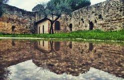 San Gimignano, na de regen Stock Foto's