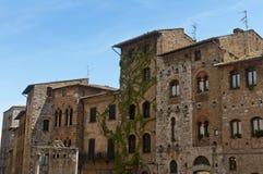 San Gimignano piazza Royaltyfri Fotografi