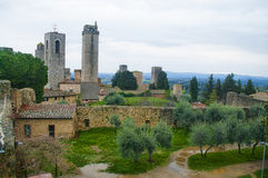 San Gimignano, after the rain. Detail of the small  but pitoresque medieval town San Gimignano in Tuscany, Italy, after rain Stock Images
