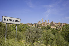 San Gimignano with road sign Royalty Free Stock Images