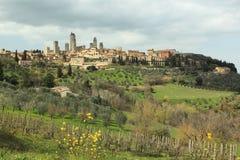 San Gimignano. Seen across the Tuscany landspace, Italy Stock Photo