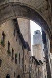 San Gimignano Siena, på morgonen Arkivbild