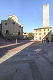 San Gimignano, Siena, Toscânia, Italia, Europa, o quadrado da catedral Imagem de Stock
