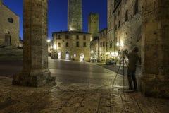San Gimignano, Siena, Toscana, Italia, Europa, il quadrato della cattedrale Immagine Stock Libera da Diritti