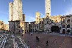 San Gimignano, Siena, Toscana, Italia, Europa, il quadrato della cattedrale Fotografie Stock