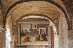 San gimignano, Siena, Tuscany, Italy, Europe baptistery loggia Fotografia Royalty Free