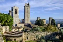 San gimignano, siena, tuscany, italy, europe, seen from the fortress montestaffoli Stock Image