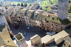 San Gimignano Square - Tuscan Italy Stock Images