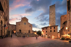 San Gimignano Square. Twilight of a piazza in San Gimignano, Italy stock images