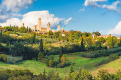 San Gimignano. Before sunset, a historical town in Tuscany, Italy stock images