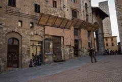 San Gimignano, Teenagers and Tourists Stock Photo