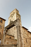San Gimignano Tower. View of a Tower in the Italian village of San Gimignano Stock Photos