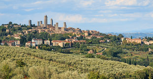 San Gimignano Towers view from the hills- Tuscany Stock Photo