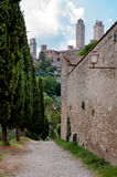San Gimignano town and external walls and path Stock Images